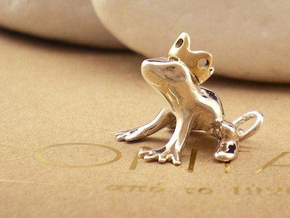 """Solid Sterling Silver and K14 Gold Pendant - """"Kiss This Frog"""" - FREE Shipping"""
