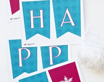 """Banner for Frozen inspired Party Decor Banner, Garland, Decoration - """"Happy Birthday"""" INSTANT Download!"""