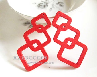 Painting Series - 20x50mm Pretty Red Geometry Wooden Charm/Pendant MH248 03