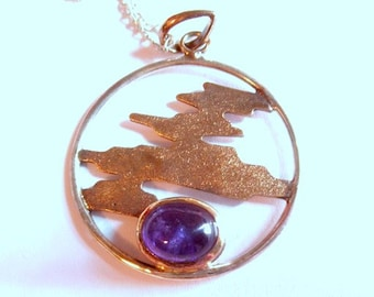 """Vintage Sterling Silver Amethyst Sunset Pendant on a large 16"""" Sterling Chain"""