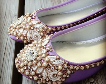 French Lavender Bridal Ballet Flats Wedding Shoes - Any Size - Pick your own shoe color and crystal color