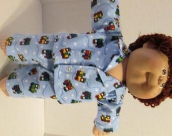 "16"" Boy Cabbage Patch Train Print Pajamas"