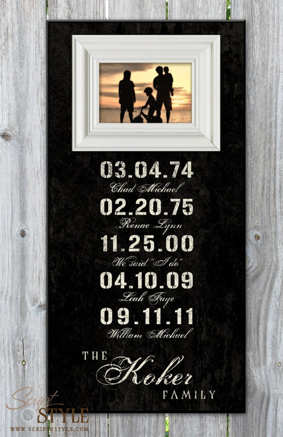 Items Similar To Personalized Special Dates Picture Frame