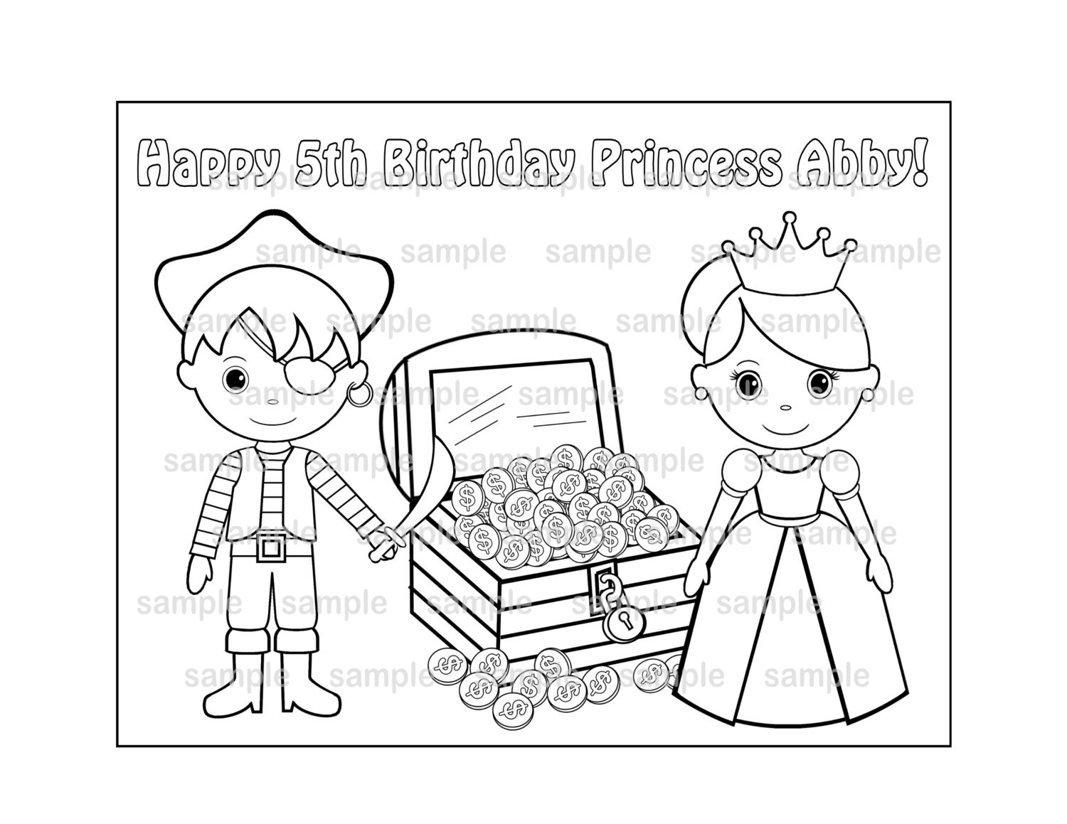 personalized printable princess and pirate birthday party