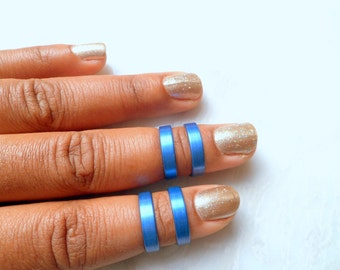 Blue Knuckle Ring, Smooth Matte Blue Band, Above Knuckle Ring, Adjustable Finger Ring, Stacking rings
