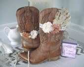 Shabby Chic Boot Band, Boot Accessories,Cowgirl Boot Band, Boot Bracelet With Feather Pad