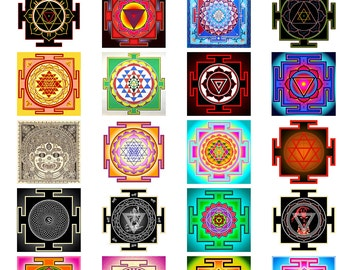 Magic Yantra Hindu Twinchies 2 x 2 inches - Digital Collage Sheet (108)