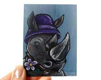 Clearance Sale: Rhino Art Print, ACEO Art Card, Vintage Flapper Hat, Rhinoceros, Animal Illustration
