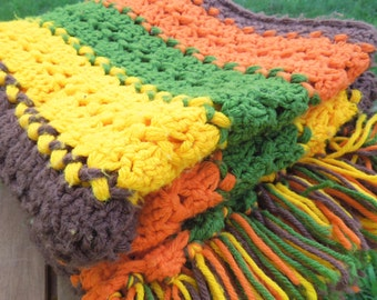 """SALE - Bold colorful vintage crochet afghan throw blanket with brown orange green yellow stripes 55"""" x 52"""""""