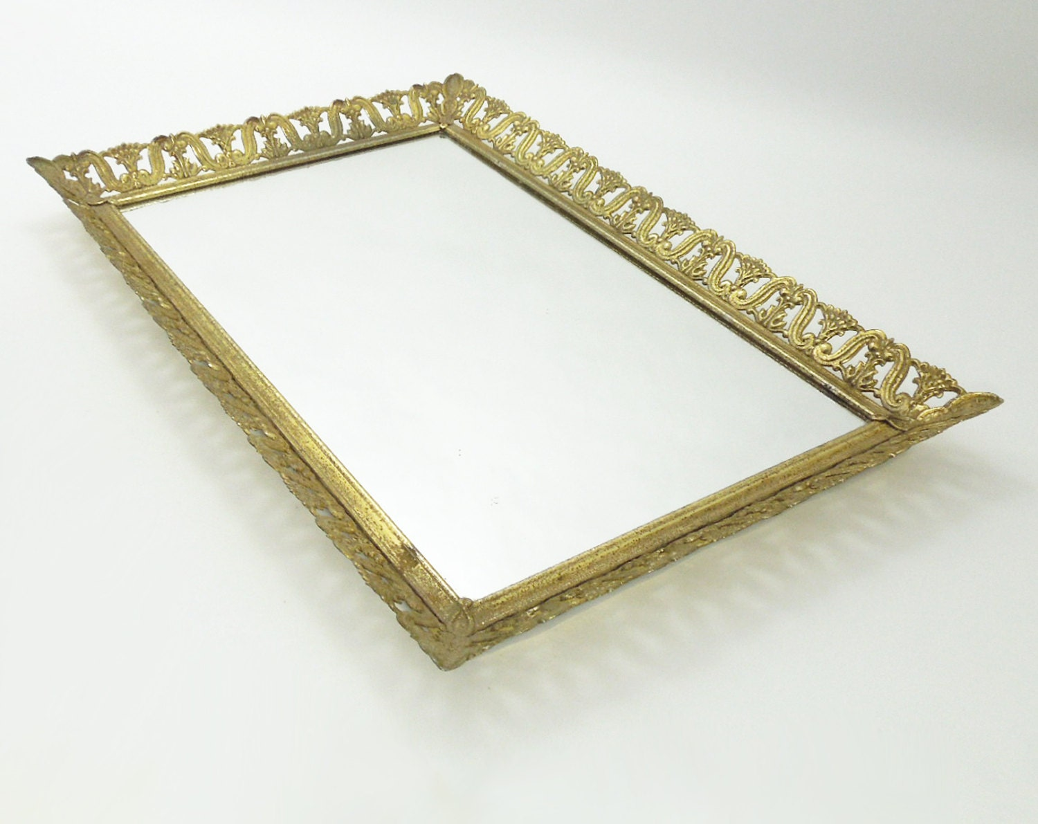 Rectangular vintage brass mirror vanity tray with by for Mirrored bathroom tray