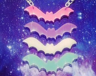 Pastel Goth Milky Bat Necklace Fairy Kei Soft Grunge Creepy Cute