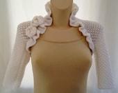 Bridal Bolero Shrug with Roses - Made to Order - XL Size