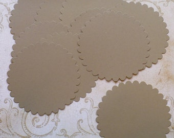 10 pc  Large Scallop Circles Die Cuts cut from Kraft Cardstock 4 DIY Banners, Rustic Wedding Tags Crafts Labels