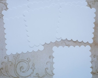10 pc Large Scallop Squares Die Cuts White Cardstock for DIY Banners Crafts Tags Weddings Labels
