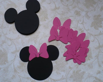 12 Minnie Mouse Head Shapes Hot Pink Bow Die Cut 3.5 inch pcs for craft  DIY Kids Crafts Birthday Party etc.