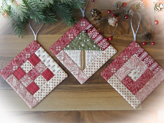 Handmade Christmas Ornaments Hand Quilted Hand Embellished