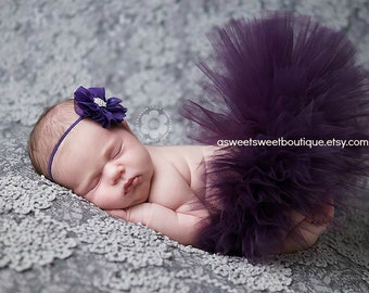 Plum Tutu Purple Tutu Sweet Plum Blossom Tutu Newborn Tutu With Matching Vintage Style Flower Headband Stunning Newborn Photo Prop