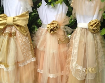 Bridesmaid Peach and Gold Shabby Chic Gown Boho Dress, Mix and Match Dresses