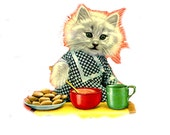 1 1/2 Fabric Cat Button - Sweet Dressed COOKIE KITTEN BAKERS Dream Cook Bake Recipe Kitchen