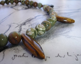 Unakite and Tiger's Eye Sterling Silver Necklace, Earthy, Dramatic, Tribal