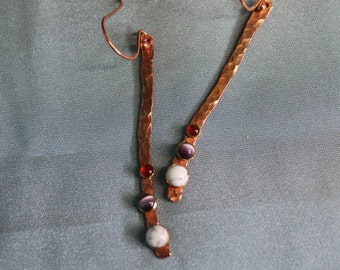 Copper twig gemstone dangles