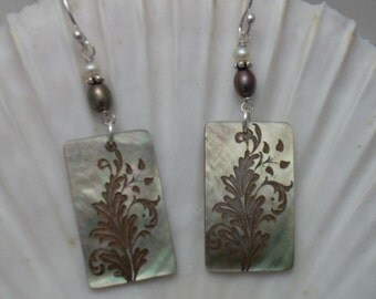 Earrings: Etched Mother of Pearl with Freshwater Pearls