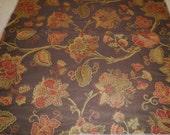 Reserved for ZP, Floral Home Decor Designer Trade Only Fabric, Brown, Olive, Gold, Burgundy, Dark Orange Floral print Fabric