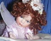 Lovely Porcelain Cathay Collection Limited Edition Doll Angel Wings Laying Down On Pillow
