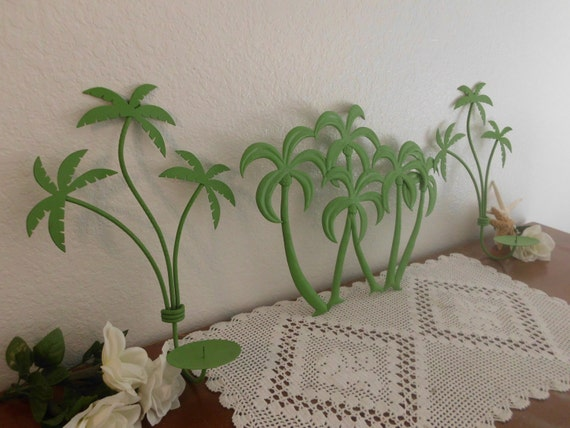 Green Palm Tree Metal Wall Hanging Rustic By ElegantSeashore