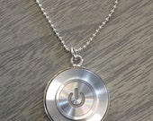 Mac Power Button Click Pendant with Silver Plated Setting
