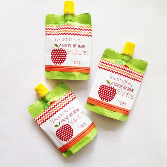 Instant download valentine main squeeze applesauce labels orange and