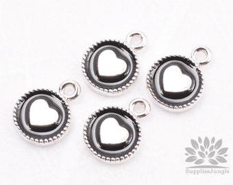 P427-02-BR// Original Rhodium Plated Black Epoxy Heart Oval Pendant, 2 pcs