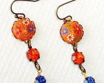 "New GLASS Dangle EARRINGS, Handmade w/All Vintage Stones - ""Sunset At Sea"" - Blue & Orange, Old German Cabs, Rhinestones, OOAK"