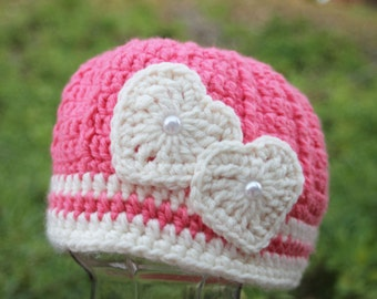 AVAILABLE Valentine  Heart Hat for child Crochet 20 inches size 2T to 4T old  Pink with two ivory hearts