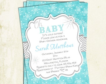 Oh Baby Winter Baby Shower Invitation Printable Design