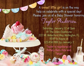 Rustic Candy Theme Baby Shower Invitation - Printable and Custom Invite