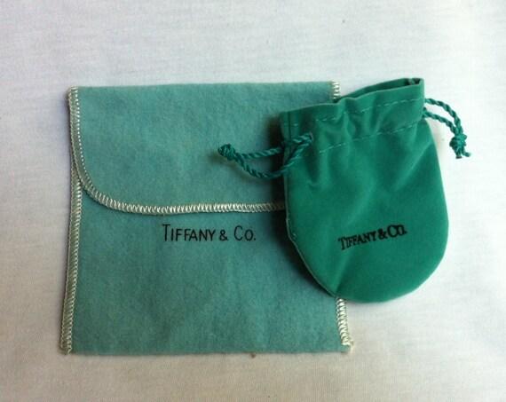 Authentic Tiffany Amp Co Designer 2 Blue Suede Pouch N Felt Dust