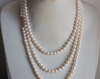 PEARL SET -   genuine 7-8mm white pearl long necklace 64inch & earring set