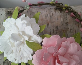 Paper Peony woodland bridal crown, white and soft pink paper peony crown, bridal accessory, unique one of a kind accessory, handmade