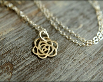 Blooming Rose Cutout Necklace in Sterling Silver
