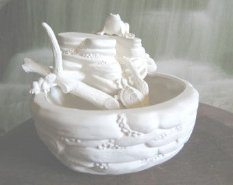 Frog Bowl,fountain, Fairy garden, Planter, Frogs,Turtles, Patio decoration, Toads, Ready to paint, Ceramic bisque, u-paint