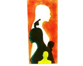 street art painting  //  wood panel, mixed media, silhouette portrait, gun, emerald green, neon yellow, red ink, paintings