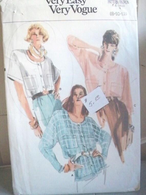 Vogue Blouse Pattern Vintage 88
