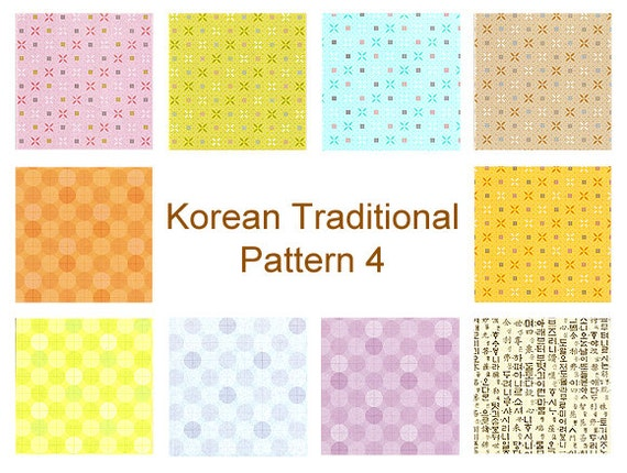 Korean Traditional Patterns, Plain Colors IV- Double Sided Origami Paper- 20 Sheets