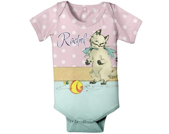 Personalized Baby Cat Bodysuit, Kitten One Piece, Girl's Snapsuit, Baby Clothing