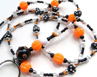 OCTOBER FUN- Beaded ID Lanyard- Cat and Pumpkin Beads with Black Pearls (Magnetic Clasp)