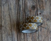 Japanese Washi Tape - Masking Tape roll in Gold Jumbo Polka Dot