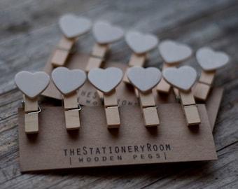 Mini Wooden White Heart Shape Pegs for Gift Packaging, Wedding Favours, Handmade Goods - Set of 10