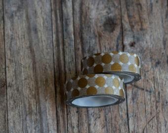 Japanese Washi Tape - Masking Tape roll in Gold Jumbo Polka Dot