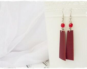 Gothic Burgundy Earrings, Wine Red Earrings, Long Leather Earrings, Lolita Vampire Earrings, Blood Red Leather Jewelry, Macabre Earrings